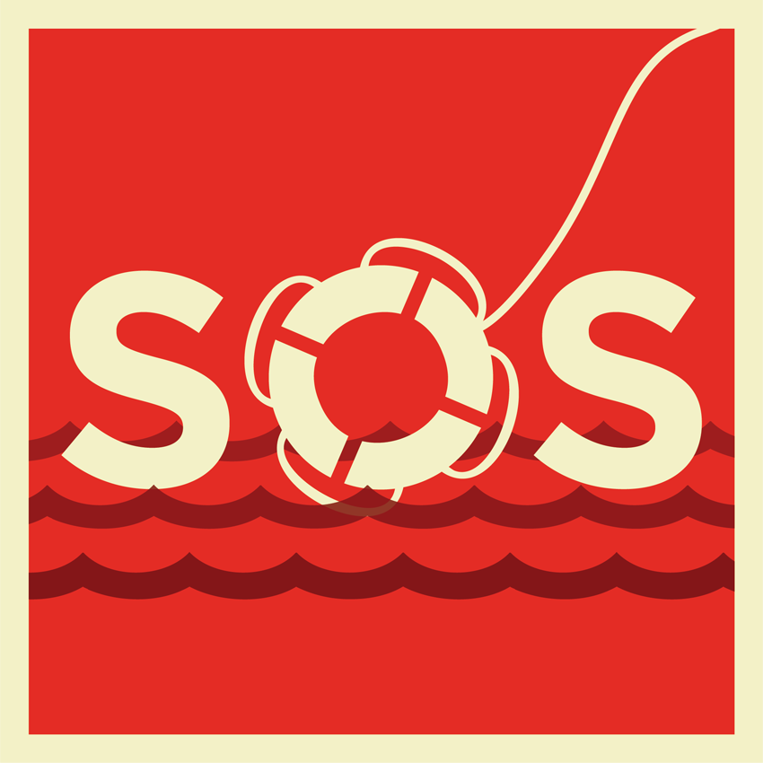 "Illustration of SOS letters floating in the water. The ""O"" in SOS made out of a life buoyant."